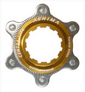 Ashima Адаптер для крепл. 6-болт.роторов на диск.втулки Center Lock Shimano жёлтый AC-02