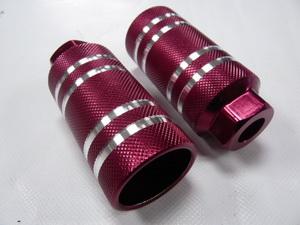 PAZZAZ ВМХ пеги ф10 AL 50х110 с серебр.проточками,резьбовые PG1700T-DR01 красн.