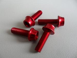 Token Болт М5х16 для крепления флягодержателя Al7075 (4шт) красные TK-B516