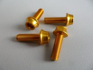 Token Болт М5х16 для крепления флягодержателя Al7075 (4шт) золотые TK-B516